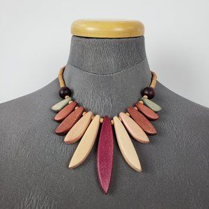 Brown & Pink Wood Necklace
